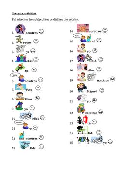 English worksheets: Gustar and Encantar - TEST
