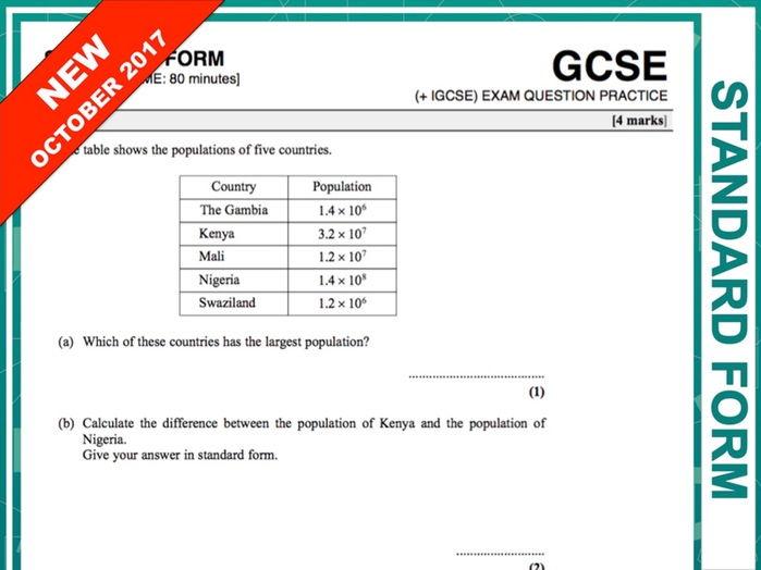 GCSE 9-1 Exam Question Practice (Standard Form)