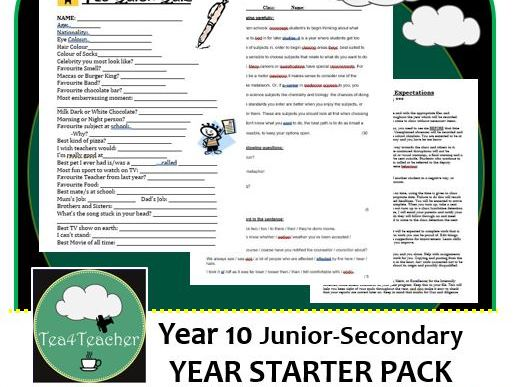 Get To Know You Quiz & Starting Out Diagnostic Test - Year 10 English
