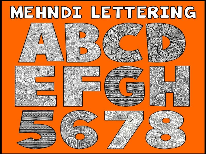MEHNDI LETTERS NUMBERS LETTERING TEACHING RESOURCES DISPLAY EID RAMADAN