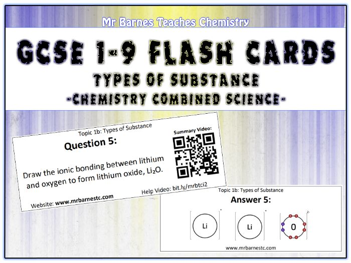 GCSE Chemistry Flash Cards - Types of Substance (Ionic