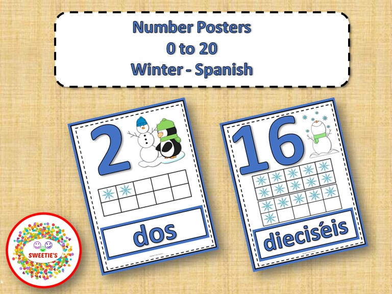 Number Anchor Charts 0 to 20 with Ten Frames - Winter - Spanish -Los Números
