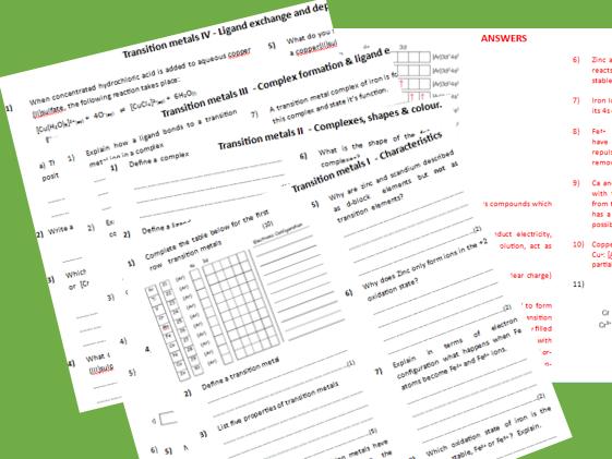 Transition metals worksheets