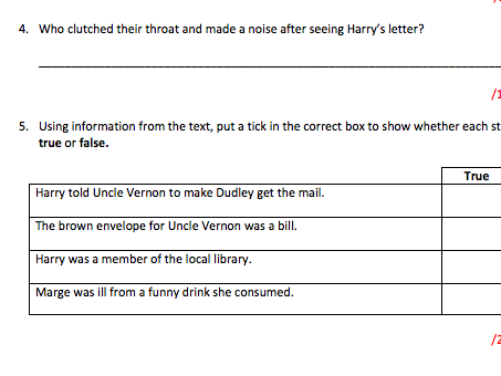 Year 6 - Retrieval Questions - Harry Potter Chapter 3