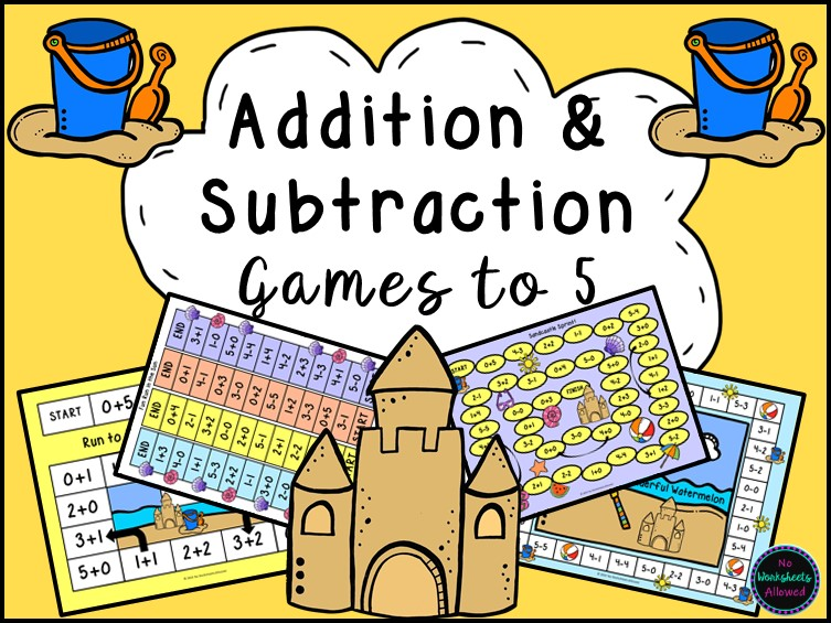 Addition and Subtraction Within 5 Games {Summer Seaside Theme}
