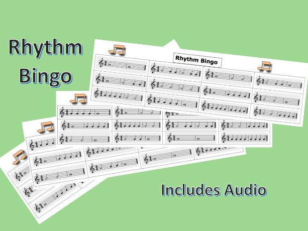 Rhythm Bingo Card Game with Audio for Music Lessons