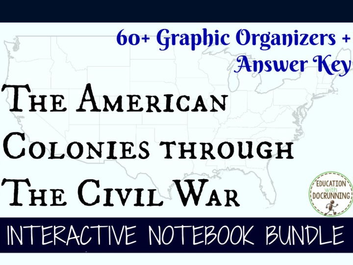 American Colonies to Civil War Interactive Notebook Graphic Organizer Bundle