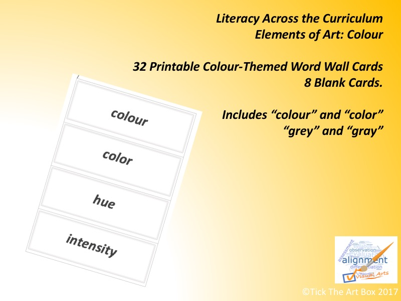 Elements of Art Vocabulary (Word Wall) Cards: COLOUR