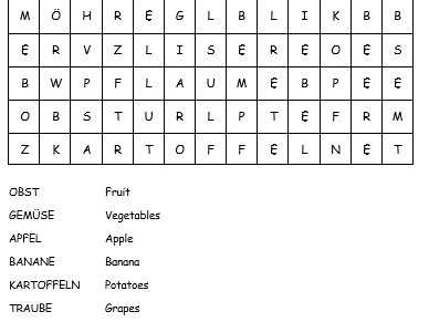Fruit and vegetables German wordsearch