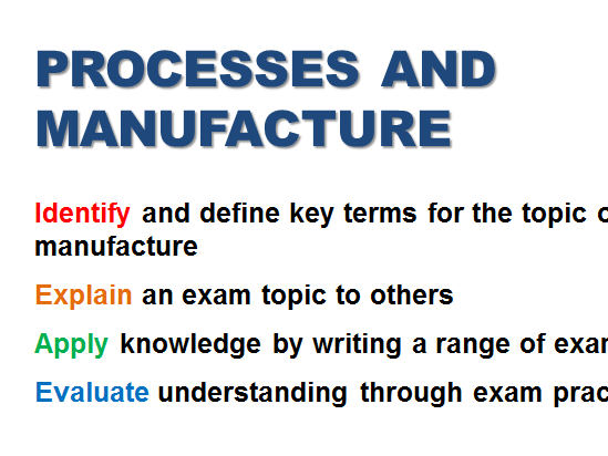 Processes and Manufacture Revision- AQA Product Design