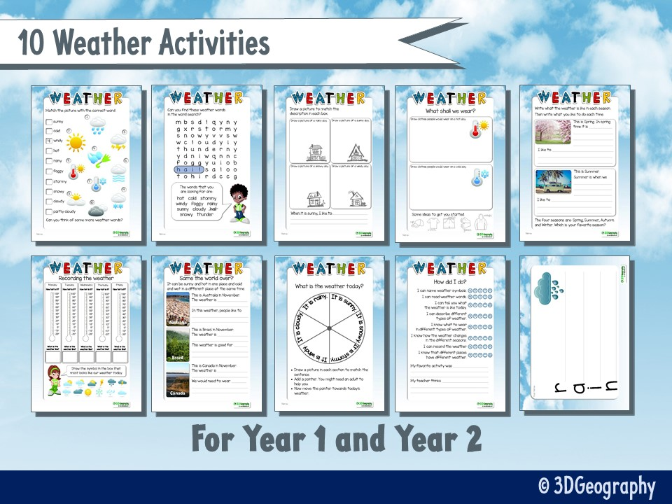 Weather worksheets for KS1 - 10 activities
