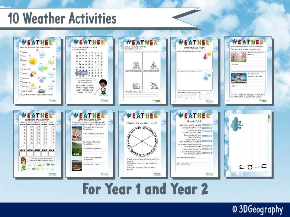 Weather worksheets for KS1 - 10 activities