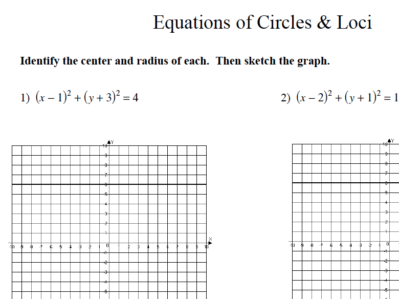 GCSE Maths Circles and Loci on Graphs