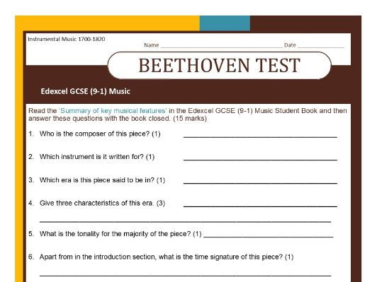 MUSIC EDEXCEL GCSE (9-1) Beethoven 'Pathetique' TEST on 'Summary of key musical features'