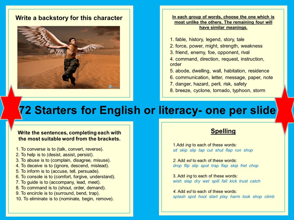 72 starters- English and Literacy, SPAG, VCOP Word Classes, Devices