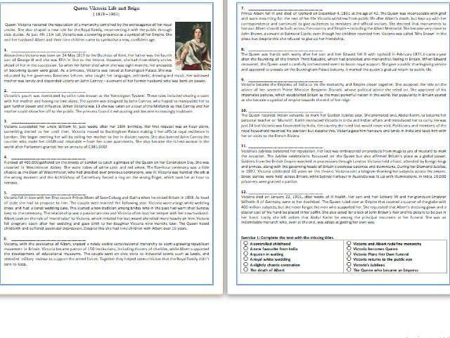 Queen Victoria Life and Reign - Reading Comprehension Worksheet / Biography
