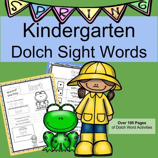 Kindergarten Sight Words SPRING Set