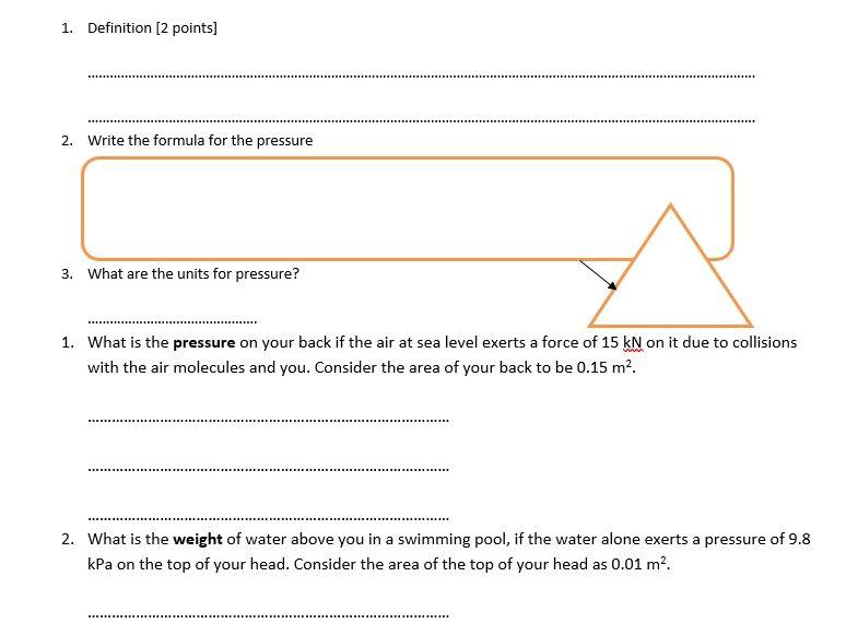 GCSE Physics Worksheet: pressure, force, area, definition, formula and Q&A