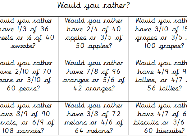 Would you rather? Fractions of Amounts