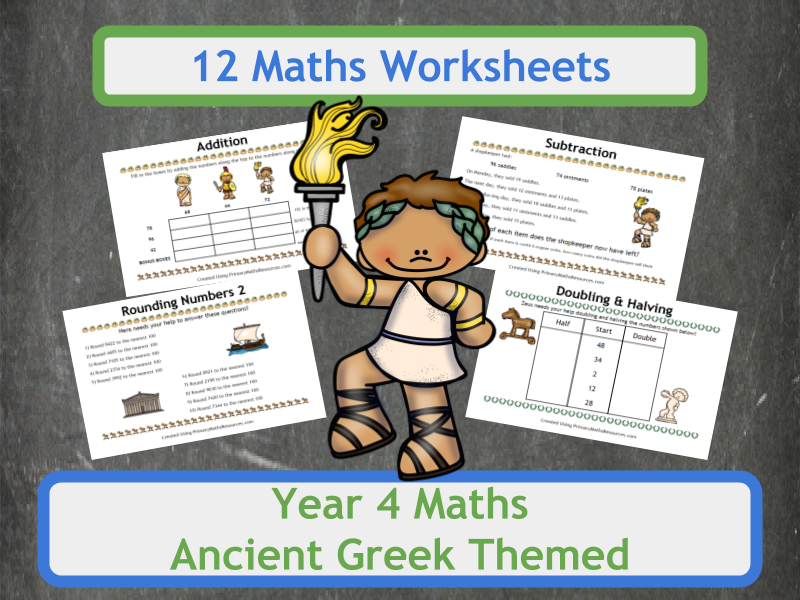 Ancient Greek Themed Maths Worksheets - Year 4