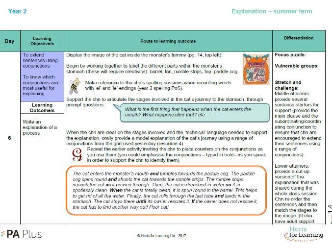 Detailed English Planning - explanations year 2
