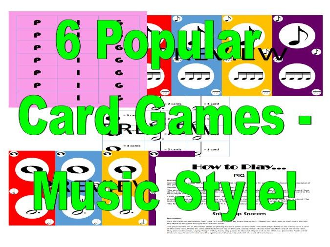 6 Popular Card Games - Music Style!