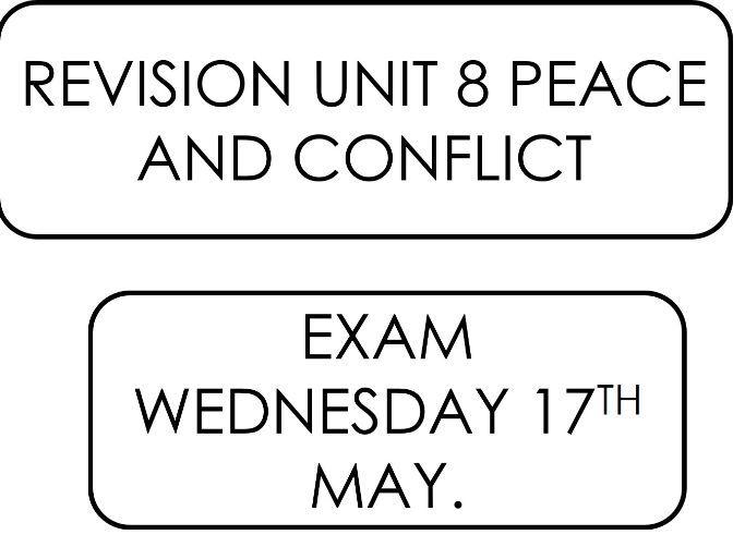 GCSE Religious Studies Unit 8 Peace and Conflict Revison.