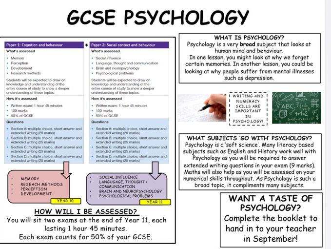 GCSE psychology summer transition tasks