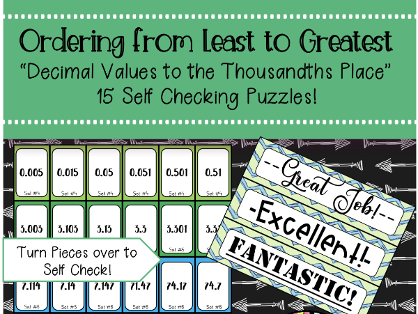 Ordering Decimal Numbers to the Thousandths Place Self Checking Puzzles