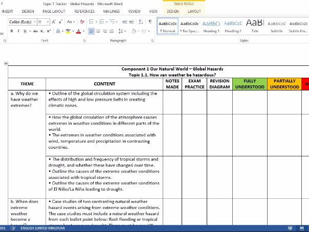 GCSE Geography 1-9 OCR B Student tracking sheet - Enquiring Minds - Topic 1 - Global Hazards