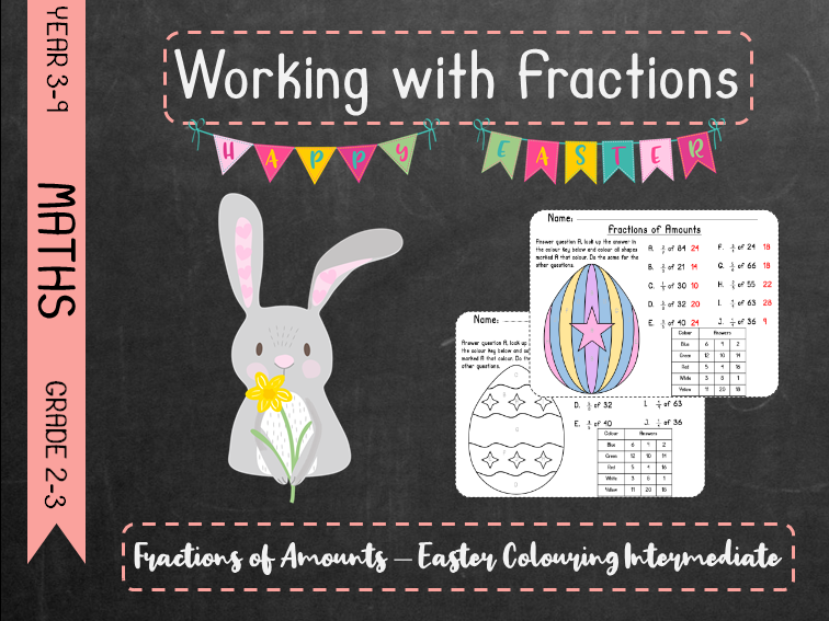 Working With Fractions - Fractions of Amounts Easter Colouring Intermediate