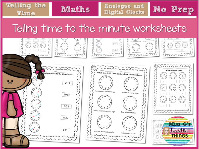 LKS2 maths  Year 3 Year 4 Telling the time worksheets - to the exact minute