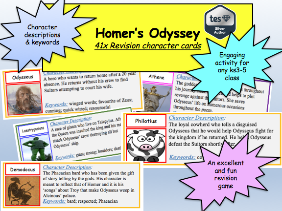 Homer's Odyssey Revision: 41 Character Cards (description and key words)