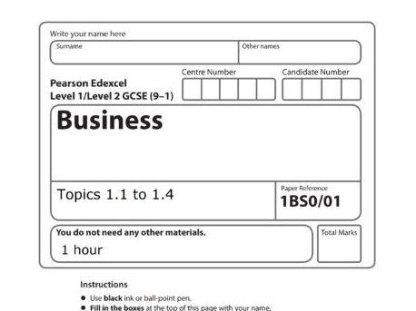 Assessment - Topics 1.1 to 1.4 - Edexcel GCSE Business