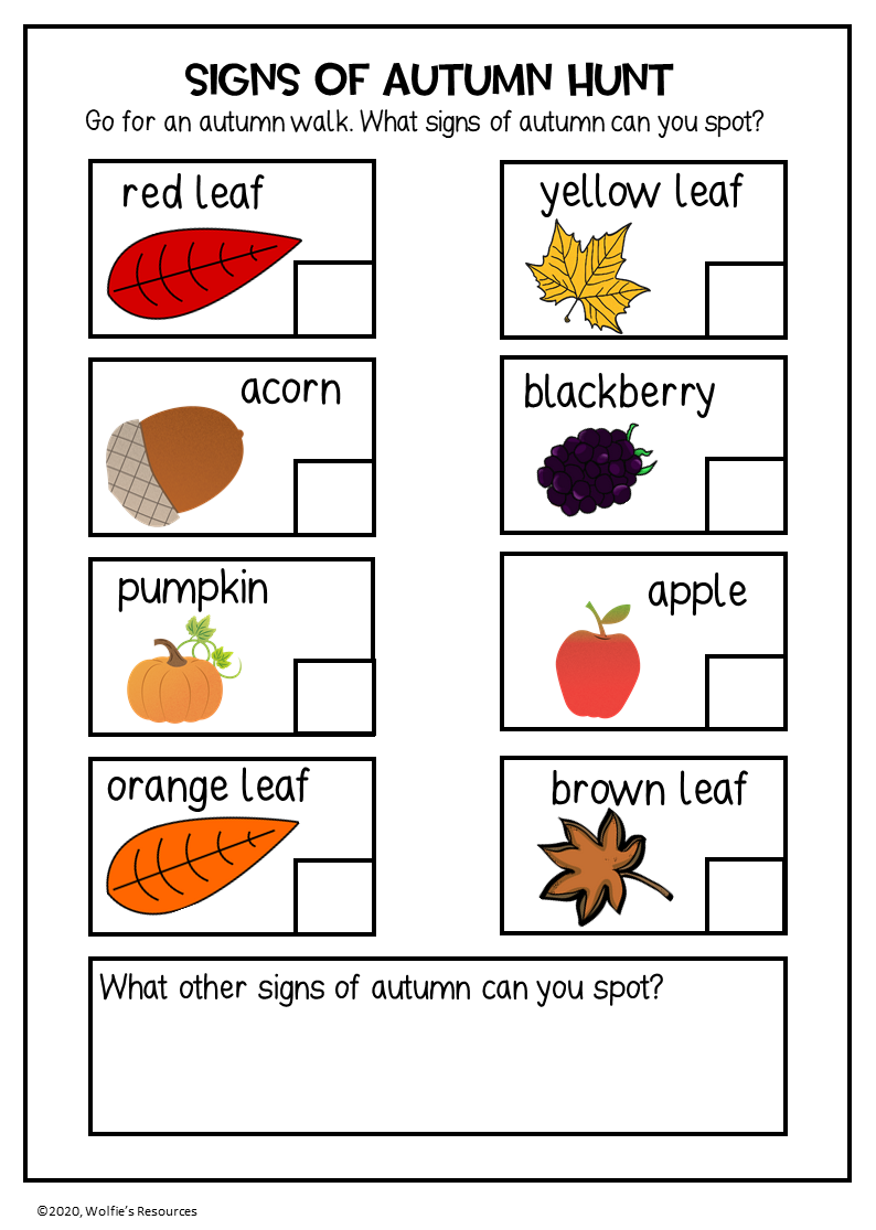 Signs of Autumn Checklist   Teaching Resources