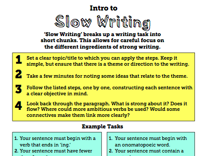 Slow Writing - Guide and Activities