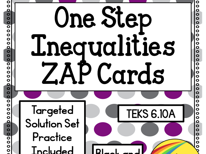 One Step Inequalities Zap Cards