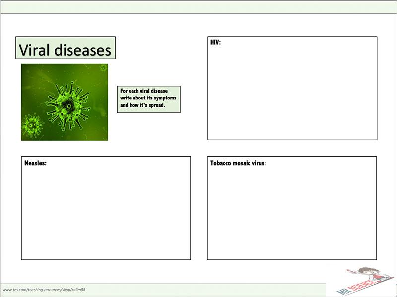 Viral diseases worksheet