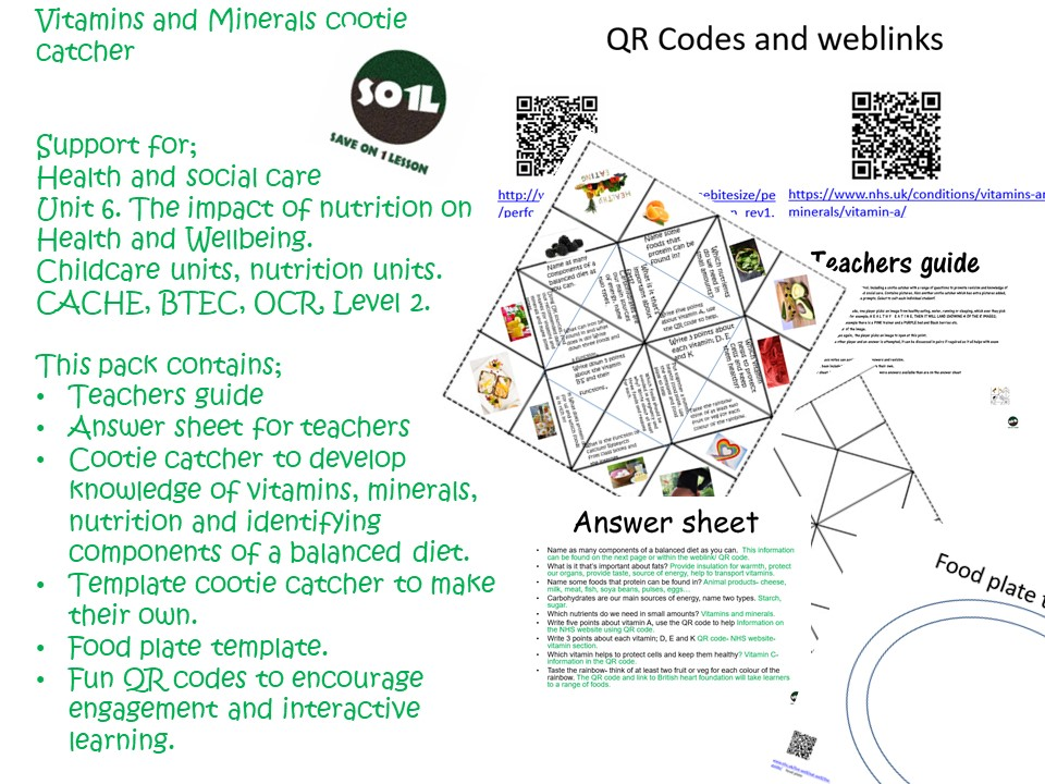 Vitamins and Minerals cootie catcher Support for;  Health and social care  Unit 6. The impact of nut