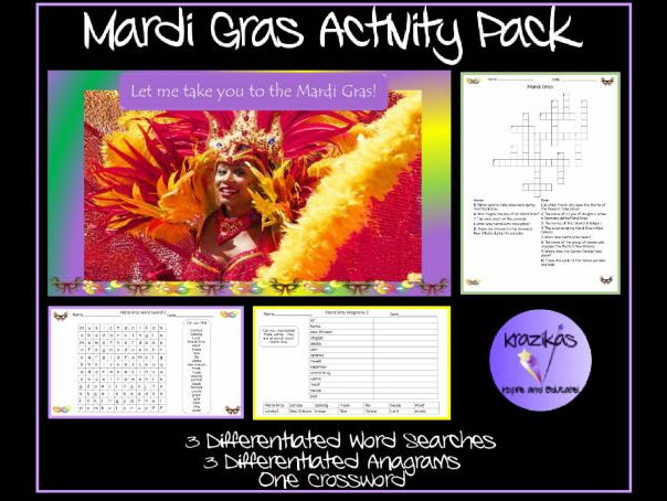 Mardi Gras Activity Pack - Differentiated Word Searches, Anagrams and Crossword