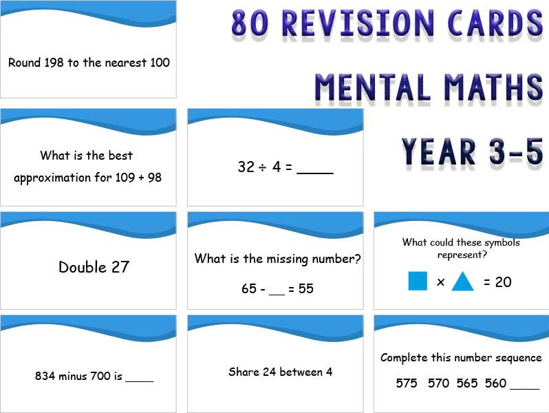 80 Revision cards: Mental Maths Year 3, 4 and 5