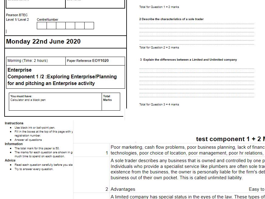 Exam Style Test Components 1+2 BTEC ENTERPRISE
