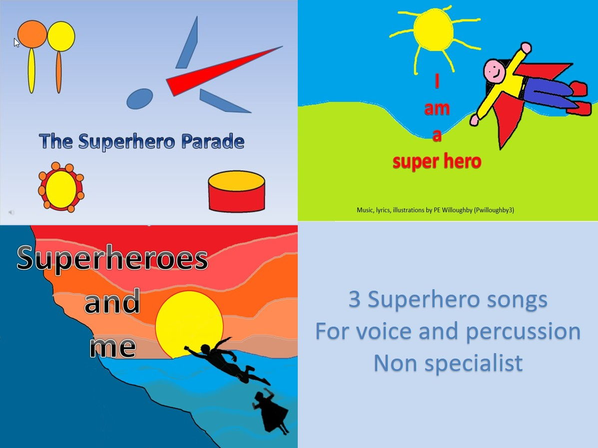 Superhero Songs for percussion and movement. Video PPT MP3s