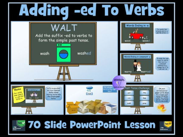 Adding -ed, -d, -ied  to Verbs To Form Simple Past Tense- 70 Slide PowerPoint Lesson