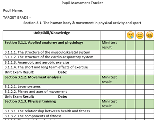 GCSE PE AQA 9-1 Student Knowledge Tracker Assessment