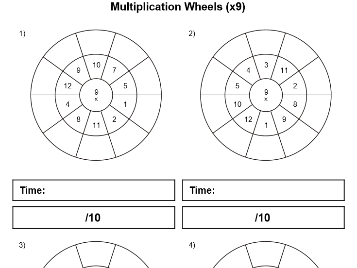 7, 8, 9 and 12 Multiplication wheels (worksheets for timed practice)