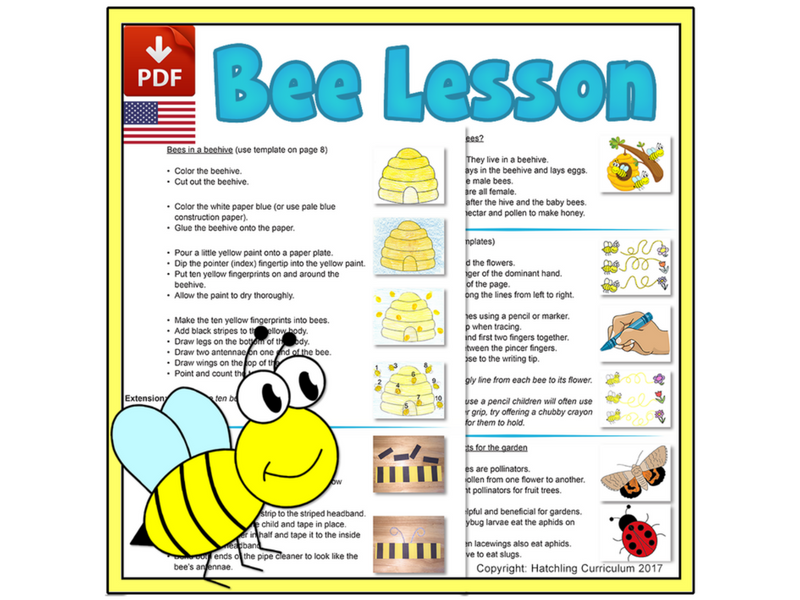 Bee Mini-lesson: Pre-Writing and Number Activities - US Version (Letter)