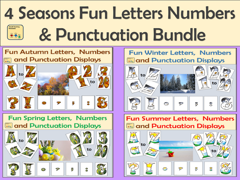 4 Fun Seasonal Letters Numbers and Punctuation Symbols Bundle
