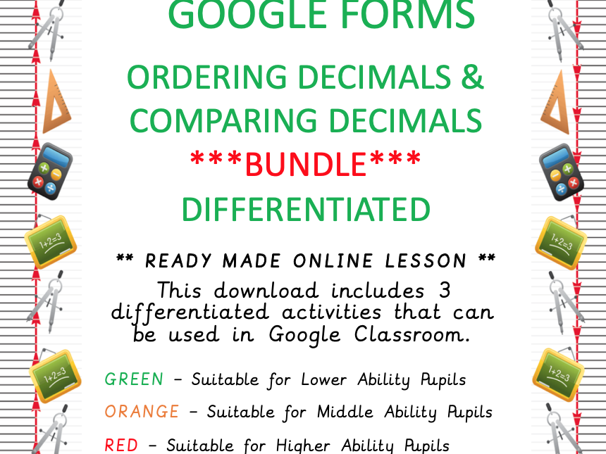 Differentiated BUNDLE - Ordering and comparing decimals - Online Learning - Google Forms