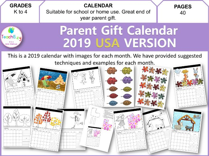 Parent Gift Calendar 2019 USA Version